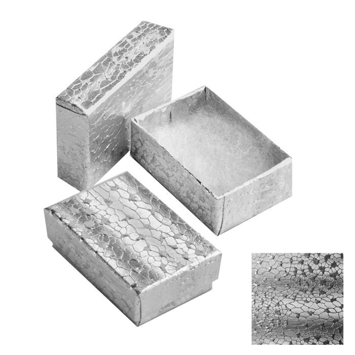 new 50 silver cotton filled jewelry gift boxes 1 7 8 x 1