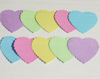 Set of Pastel Scallop Hearts die cuts /  card-stock paper/ size 2 3/4 inch