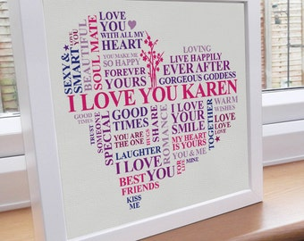 ... fiance or wife. Personalised word art gift. Romantic valentine word