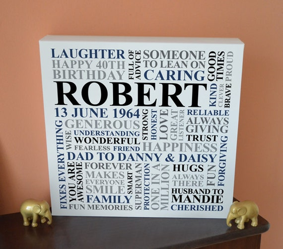 Personalised Men's Birthday Canvas. 21st 30th 40th