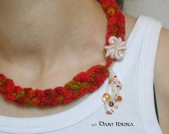 "Necklace ""Colourful Autumn"" / Statement necklace / Braided necklace with beads"