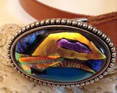 Glistening Fused Dichroic Glass Belt Buckle with Handmade Snap on Leather Belt