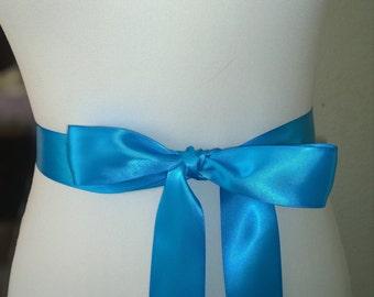 Aegean Blue Sash- 1.5 Inch Simple Satin Sash- Wedding Belt- Bridal Sash Ready to Ship