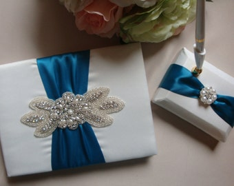 Wedding Guest Book - Ivory and Deep Turquoise Bridal Guest Book - Rhinestone Guest Book and Pen Set