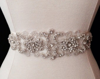 Bridal Sash - Wedding Dress Sash Belt - Crystal Rhinestone Wedding Sash - Ivory Rhinestone Bridal Sash