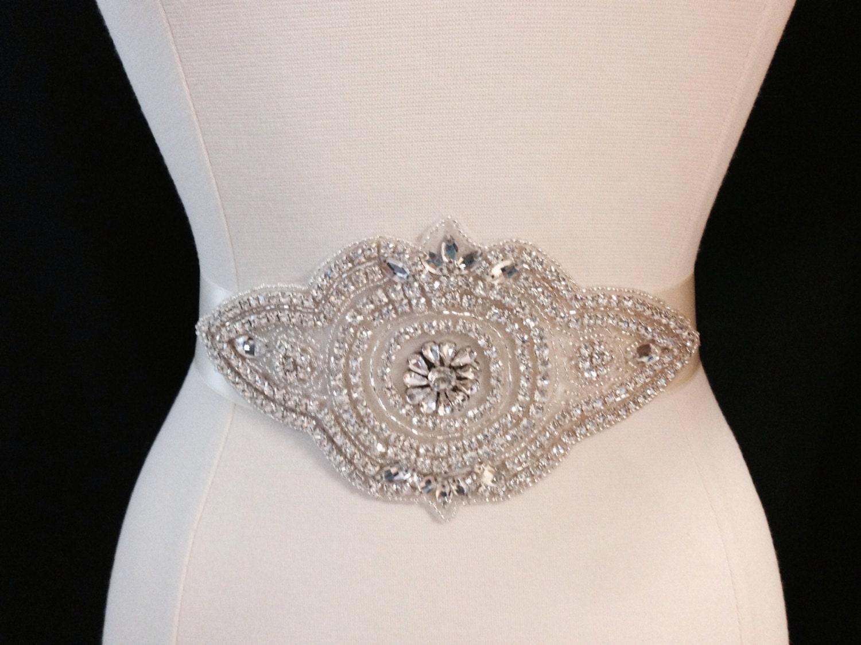 bridal sash wedding dress sash belt rhinestone ivory