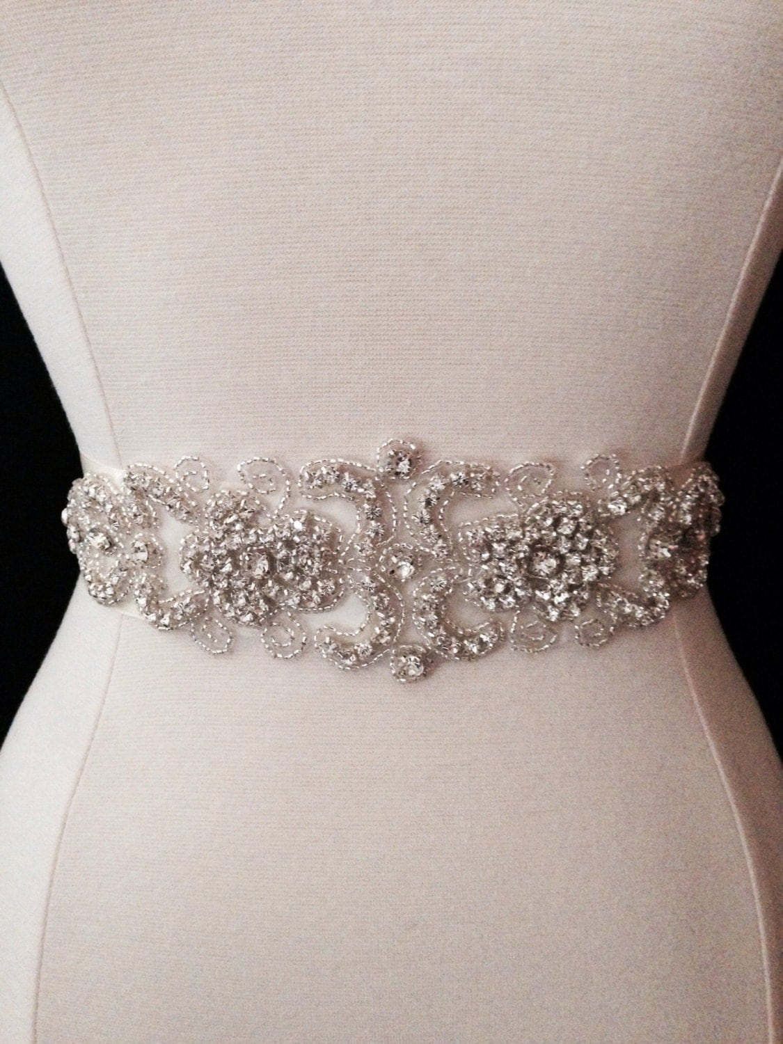 Bridal sash wedding dress sash belt crystal rhinestone for Wedding dress sash with rhinestones