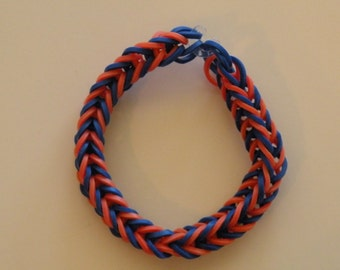 Fishtail Rubber band Bracelet By Brittani blue and orange  Auburn colors  or Custome colors Latex Free