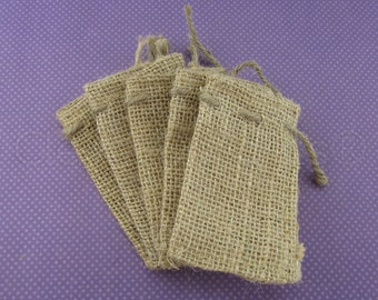 "25 - 2x3 Small Burlap Bags - Natural Rustic Burlap Bags with Natural Jute Drawstring for Showers Weddings Parties Receptions - 2"" x 3"""