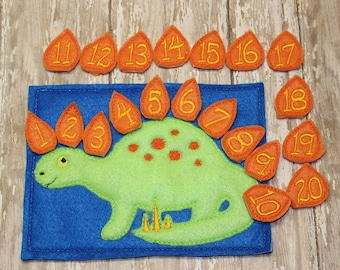 Dinosaur counting game embroidered montessori, home school, homeschool, math game, counting game, child, toy, learning, educational, numbers