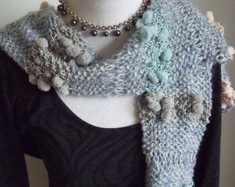 the blue scarf with polka dot jobs (150/15 cm)