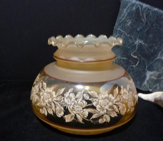 Hurricane Lamp Shade Globe Brownish Roses On Clear Glass