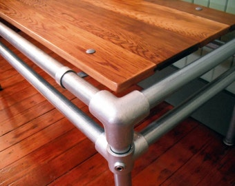 Coffee Table, Reclaimed Wood Furniture, Galvanized Pipe, Industrial, steam punk, cedar, natural oif finish, upcycled pipe