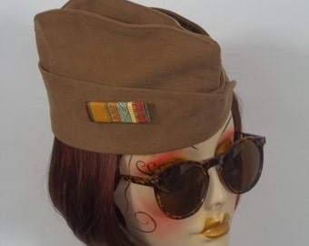 1940s style, garrison cap, brown, military hat, side cap, wedge cap, pilot cap, overseas cap, size Sm, Med, L.Free shipping in USA..