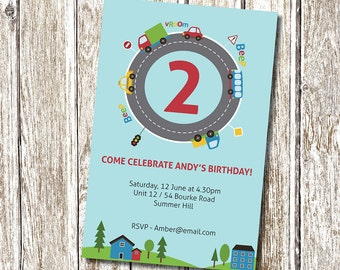 Car and Road Beep beep Birthday Party Invitation - Printable and Personalised