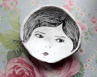 Ceramic Face Dish (Black Hair Bob Girl) Jewelry/Trinket Dish.