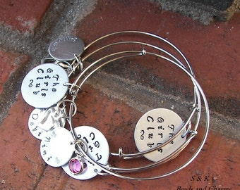 Adjustable bangle bracelet, Hand stamped jewelry, mommy jewelry, personalized, engraved jewelry, custom stamped,  hand stamped,