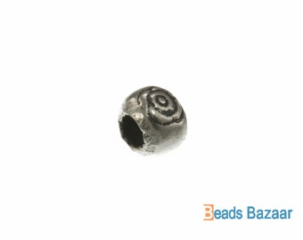Karen Hill Tribe silver Eye Printed Hallow Ball Bead, 5.5 mm ( 25 pieces )