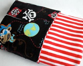 Pirate Print with Red and White Stripe Minky LOVIE Blanket - Baby or Toddler Boy, Birthday Gift, Crib Bedding
