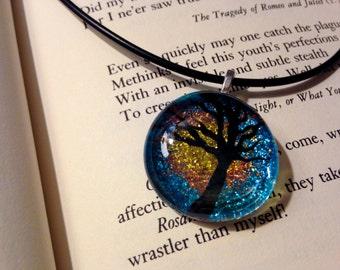 Glass Cabochon Sunset Sparkle Tree Necklace
