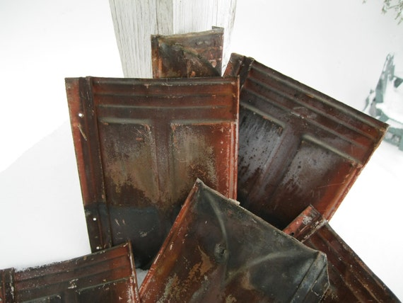 Vintage Tin 17 Metal Roof Shingles Architectural Salvage
