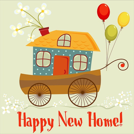 Cute Happy New Home Card Digital Card Clipart - New home clipart