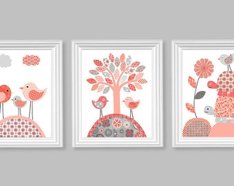 Nursery Wall Art, Baby Girl Room, Girl Room Decor, Nursery Canvas, Bird Nursery, Turtle Nursery, Bird Canvas, Turtle Canvas, Coral and Grey