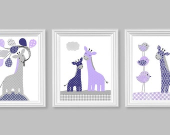 Giraffe Nursery Art, Baby Girl Wall Art, Giraffe Art Prints, Jungle Nursery, Safari Nursery, Baby Art Prints, Set of 3, Zoo Nursery Decor