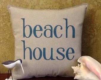 Beach House Stenciled Pillow