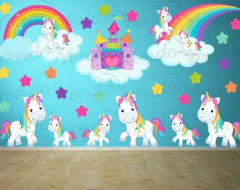 Wall Decals For Kids Bedroom Pony Wall Decal Rainbows And Unicorns Girls Room