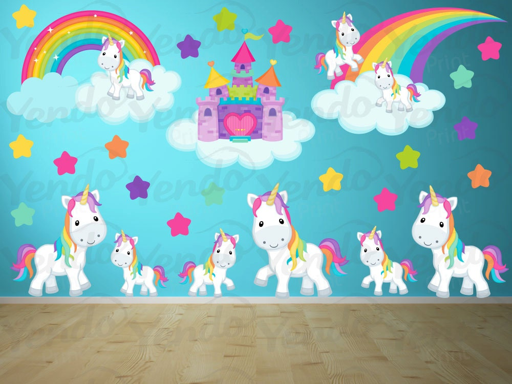 Wall Decals For Kids Bedroom Pony Wall Decal Rainbows And