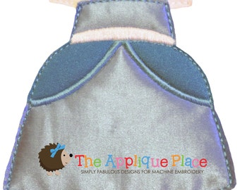 Dress Up Doll * Cinderella Gown * Paperless Unpaper Cloth doll outfit In The Hoop ITH Machine Embroidery Applique Design