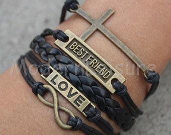 Best friend bracelet Infinity bracelet Friendship bracelet love bracelet leather bracelet charm bracelet black bracelet for friend