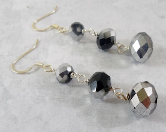 Black and Silver Crystal Wire Wrapped Dangle Earrings