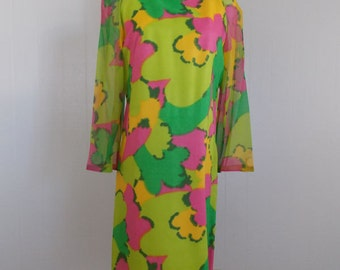 1960's Mod Print Sheath Dress