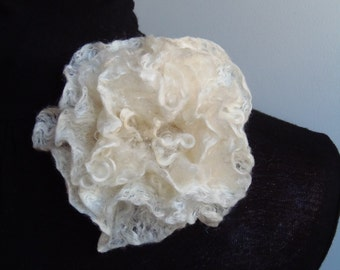 Nuno Felted  Pearl Flower Brooch/Pin.  Natural felted wool and silk