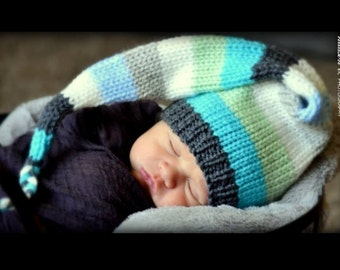 Newborn Knit Baby Hat Boy Hat Baby Photo Prop Long Tail Stocking Cap Pixie Elf  Hat Blue Gray Mix Coming Home Toque Striped