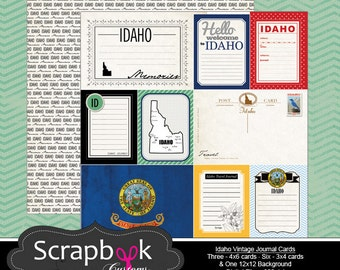 Idaho Journal Cards. Digital Scrapbooking. Project Life. Instant Download.