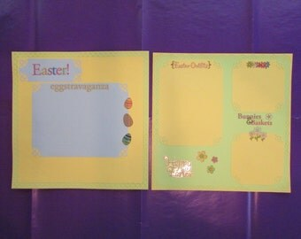 12x12 Premade Easter Scrapbook Pages, Easter Scrapbook Layout,Two Page Easter Layout,Easter Premade Pages,Premade Easter Pages,Premade Pages