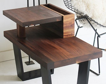 walnut end table, wood table, walnut furniture, modern end table, walnut side table, side table