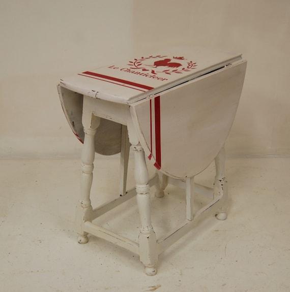 Vintage drop leaf chalk painted side table on sale for Spl table 99 00
