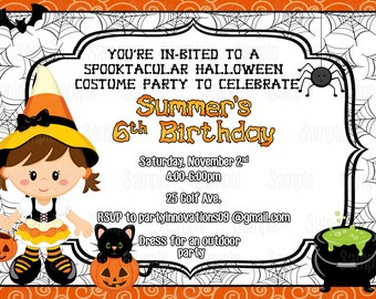 Printable Candy Corn Witch Halloween Birthday Invitation plus FREE blank matching printable thank you card