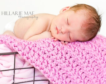 Pink Baby Mini Blanket Girl Newborn Infant Photo Prop Baby Shower Gift Super Soft Super Chunky Crochet