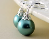 Teal Earrings, Large Glass Pearls, Christmas Balls, Silver Plated Lever Earwires, Fun Holiday Jewelry