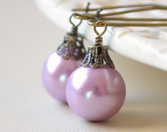Lavender Christmas Earrings, Antiqued Brass, Kidney Earwires, Round Glass Pearl, Fun Holiday Jewelry