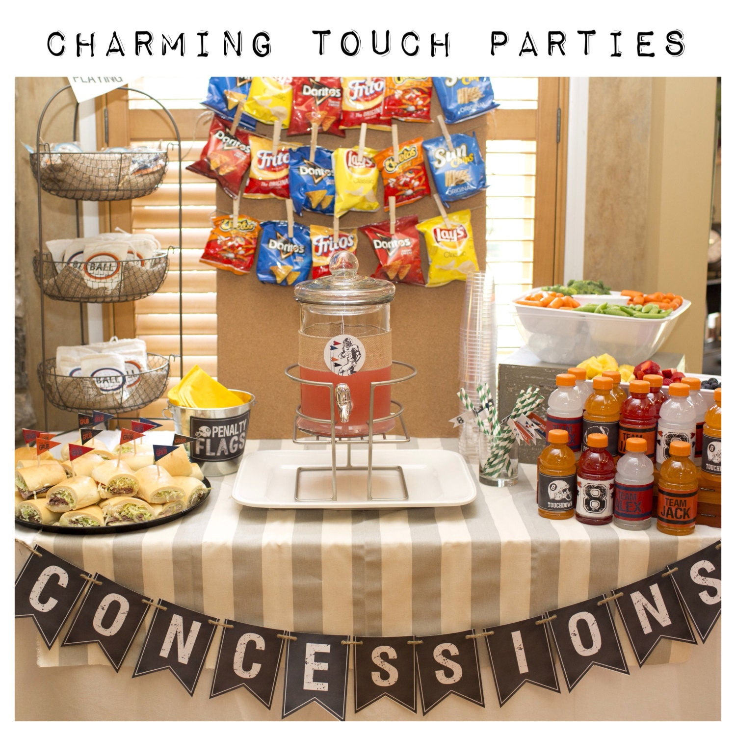 Boy sports theme birthday party decor concessions banner for Basketball craft party ideas