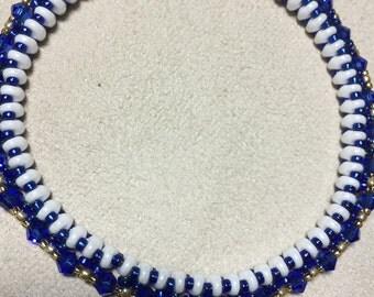Blue and White Bangle Bracelet