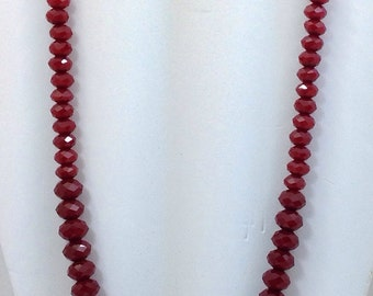 "Ruby red quartz 20"" graduated holiday necklace."
