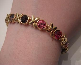 Metal Gold Tone Bracelet - with Butterflies - Pink, Lavender, & Purple Stones