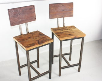 Rustic Reclaimed Wood Bar Stools With Hand Welded Steel Base - Set of 2